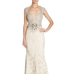 ALBERTO MAKALI EMBELLISHED LACE GOWN SIZE 2